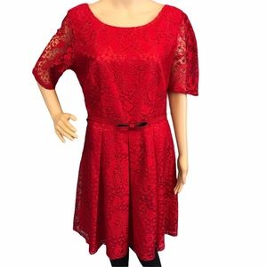 Julian Taylor solid red fit flare kneelength dress